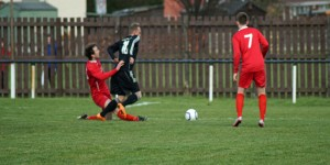 Kev Masson had a frustrating afternoon as Strollers keeper kept him out